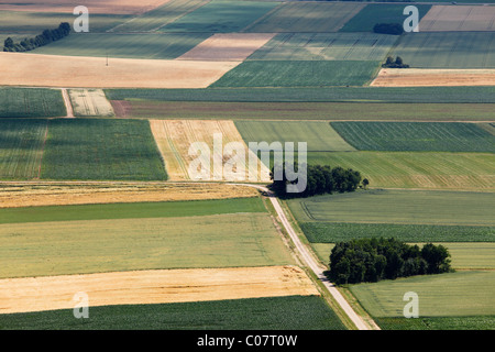 Agrarlandschaft, Blick vom Hesselberg Berg, Mittelfranken, Franken, Bayern, Deutschland, Europa - Stockfoto