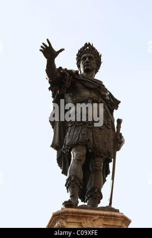 Kaiser Augustus, Augustusbrunnen Brunnen, Augsburg, Schwaben, Bayern, Deutschland, Europa - Stockfoto