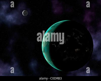 Konzept des Künstlers, wie eine außerirdische Zivilisation auf einem erdähnlichen Planeten aussehen könnte. - Stockfoto