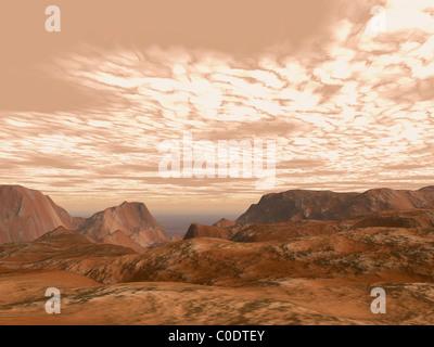 Des Künstlers-Konzept von oben auf Olympus Mons auf dem Planeten Mars. - Stockfoto