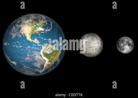 Des Künstlers Konzept der Erde, Merkur und Erde Mond zu skalieren. - Stockfoto