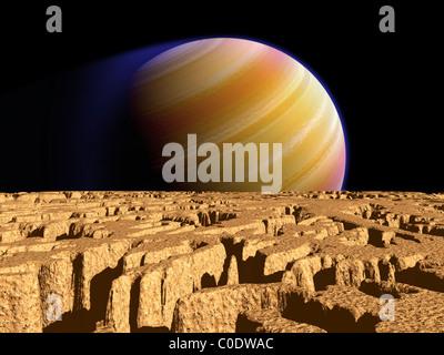 Konzept des Künstlers extrasolaren Planeten Tau Bootis b über einen hypothetischen Mond. - Stockfoto