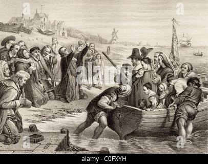 Abfahrt der Pilgerväter von Delft Haven, Holland im Juli 1620. - Stockfoto