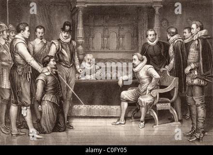 Der Schießpulver-Plot. Guy Fawkes verhört von James I und seinen Rat im Schlafgemach des Königs - Stockfoto
