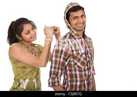 Ein junges Paar mit Spaß - Stockfoto