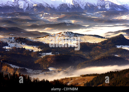 Pieniny-Gebirge mit Tatra-Gebirge im Hintergrund, Podhale Region in Polen von einem in Beskid Sadecki gesehen - Stockfoto
