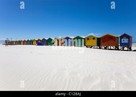 Bunte Strandhäuschen in Muizenberg, Kapstadt, Western Cape, Südafrika, Afrika - Stockfoto