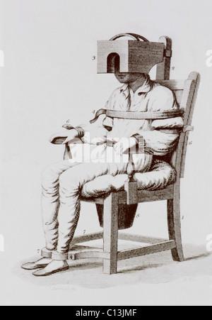 der beruhigende stuhl von benjamin rush einen psychisch kranken ist angeschnallt in ein stuhl. Black Bedroom Furniture Sets. Home Design Ideas
