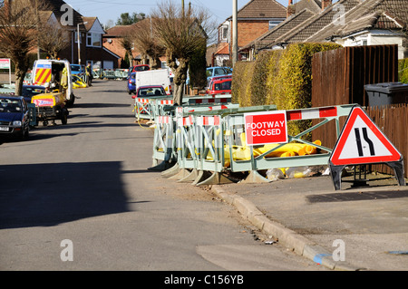 Wanderweg im Gasleitung Reparaturen in Hinckley Leicestershire geschlossen - Stockfoto