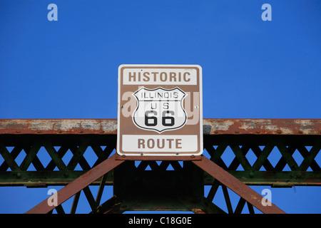 Alte Kette der Felsen-Brücke über den Mississippi River zwischen Missouri und Illinois historic Route 66 in Missouri, - Stockfoto