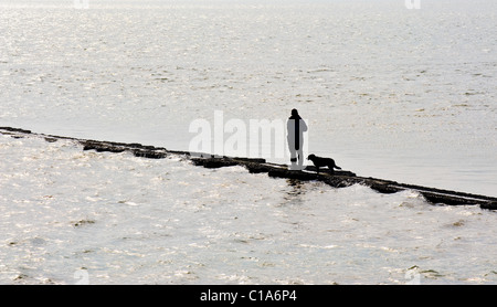 Ein Mann und sein Hund, stehend auf einem Wellenbrecher als die Flut Hochwasser.  Foto von Gordon Scammell - Stockfoto