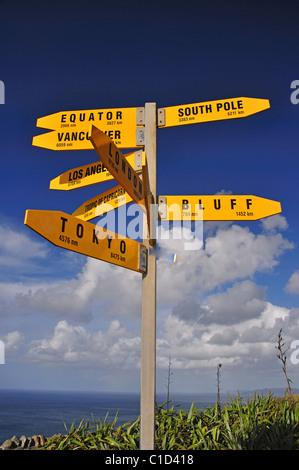 Internationale Zeichen post, Cape Reinga Lighthouse, Cape Reinga, Northland Region, Nordinsel, Neuseeland - Stockfoto