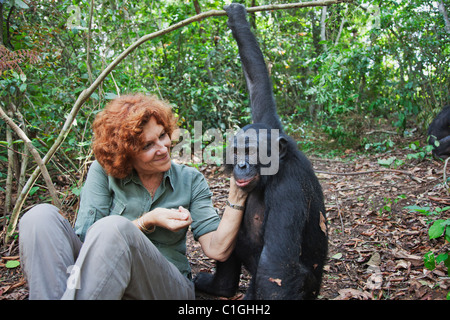 Claudine André mit Bonobos. Gründer des Heiligtums Lola Ya Bonobo-Schimpansen demokratische Republik Kongo - Stockfoto