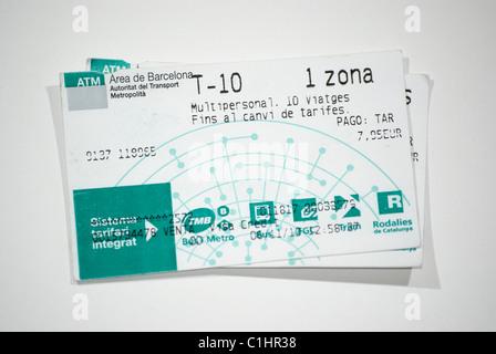 Transit Tickets, Barcelona, Spanien - Stockfoto