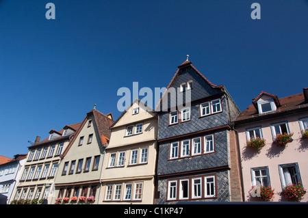Deutschland, Franken, Wertheim. Historischen Schiefer gedeckten Haus. - Stockfoto