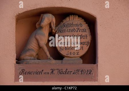 Deutschland, Franken, Wertheim. Architekturgebäude Detail. - Stockfoto