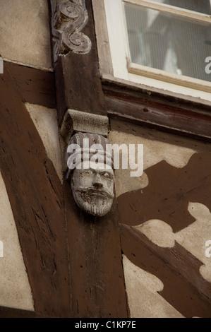 Deutschland, Franken, Wertheim. Mittelalterliche Fachwerkhäuser Architektur-, Bau-Detail. - Stockfoto
