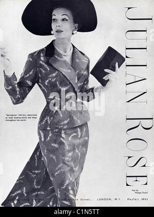 Original ganzseitige 1950er Jahre Werbung in der Damenmode ...