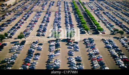 Selektiven Fokus Luftaufnahme von LAX Parkplatz, Los Angeles, S. California, USA - Stockfoto