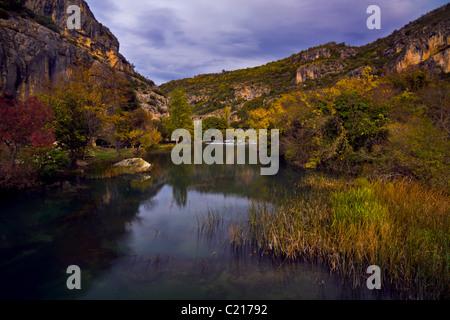 Herbstabend in Roski Slap, Krka Nationalpark Krka Fluss, Kroatien - Stockfoto