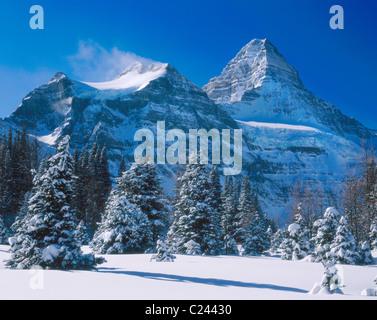 Mount Assiniboine im Winter, Mount Assiniboine Provincial Park-British Columbia-Kanada - Stockfoto