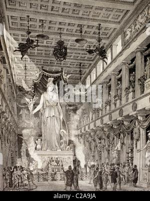 Künstlerische Darstellung des Parthenon, Athen, Griechenland, während der klassischen Periode. Statue der Göttin Athena, im Zentrum.