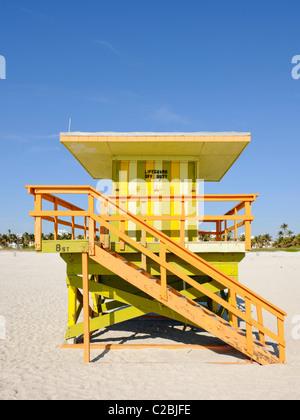 Rettungsschwimmer-Hütte, South Beach, Miami - Stockfoto