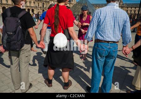 Paris, Frankreich, Menschen, die Kernenergie, Menschenkette ...