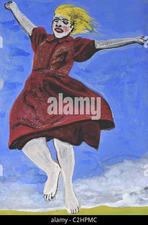 Springen, ausgestreckte armen Mädchen - Stockfoto