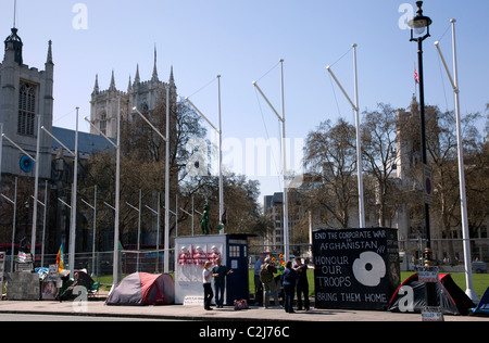 Friedenscamp in Parliament Square, London - Stockfoto
