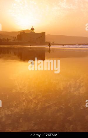 Sonnenuntergang am Las Canteras Strand auf Gran Canaria - Stockfoto