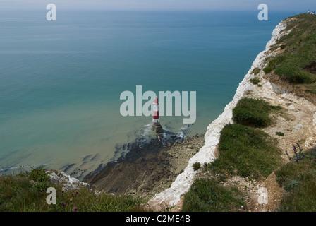 Blick auf den Leuchtturm an der Basis des weißen (Kreide) Klippen von Beachy Head, East Sussex, England - Stockfoto