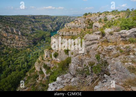 Die Schlucht des Flusses Krka, Nationalpark Krka, Dalmatien, Kroatien - Stockfoto