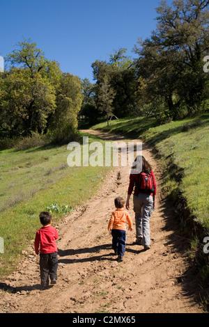 Mutter und zwei Söhne, 3 und 4 Jahre alt, Wandern, Santa Ysabel Open Space, San Diego County, Kalifornien - Stockfoto