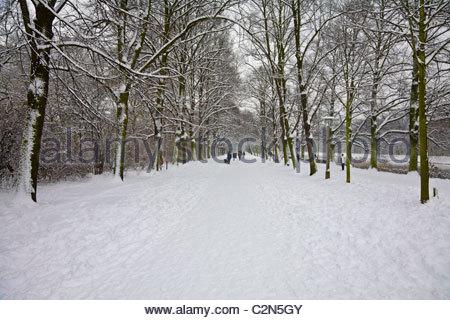 Menschen auf tief verschneiten Wege im Clara Zetkin Park während Schneesturm Anfang Januar 2010. Leipzig, Deutschland. - Stockfoto