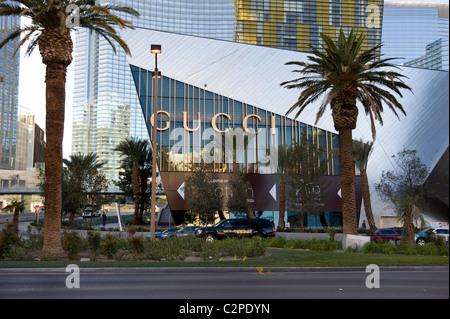 Außenseite der Gucci Boutique in Kristallen Einkaufszentrum auf dem Strip in Las Vegas, Nevada - Stockfoto