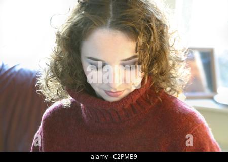 Frau Augen geschlossen - Stockfoto