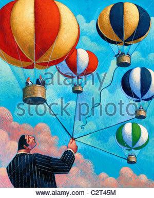 Geschäftsmann hält Bündel von Heißluftballons und ein loslassen - Stockfoto
