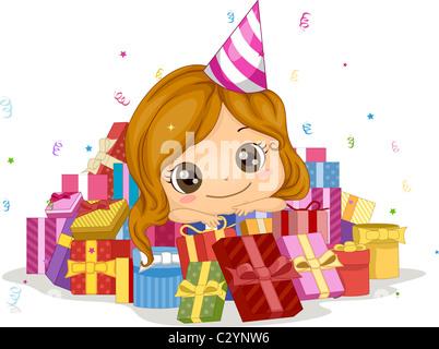 Abbildung eines Mädchens umgeben von Geschenke - Stockfoto