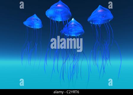 Schillernde leuchtende blaue Quallen Schwimmen im Meer. - Stockfoto