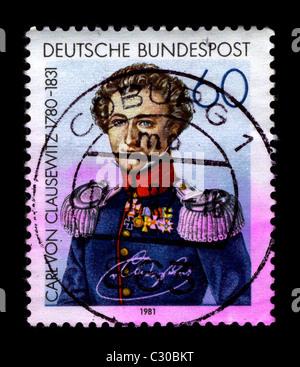 Deutschland-ca. 1981:A Stempel gedruckt in Deutschland zeigt Bild von Carl Philipp Gottfried von Clausewitz (1. - Stockfoto