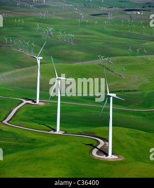 Luftbild oben, Shilo Wind Power Plant Solano County in Kalifornien - Stockfoto