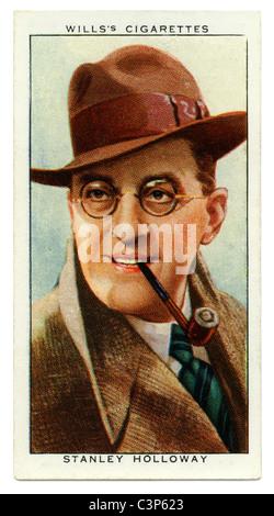 1934-Zigarette-Karte mit Porträt des britischen Radio TV und Film-Star Stanley Holloway - Stockfoto