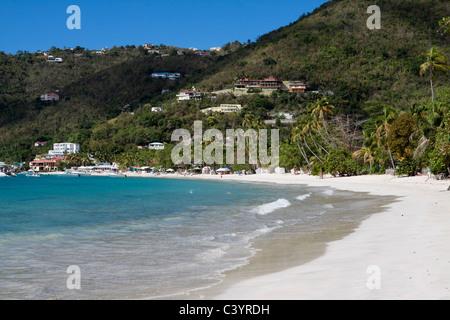Idyllische Szene von Wellen brechen sich am Strand mit Palmen und schönen Hang Häuser in Cane Garden Bay in Britische - Stockfoto