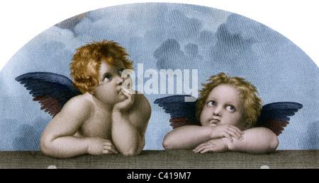 Bildende Kunst, Raphael, Santi: 'Die Engel der Sixtinischen Madonna', Kollotyp, nach einem Kupferstich von M. Rommel, - Stockfoto