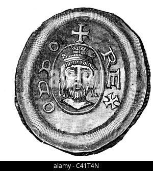 Otto I. 'der Große', 23.11.912 - 7.5.973, Heiliger römischer Kaiser 2.2.962 - 7.5.973, Porträt, Siegel, Holzgravur, - Stockfoto