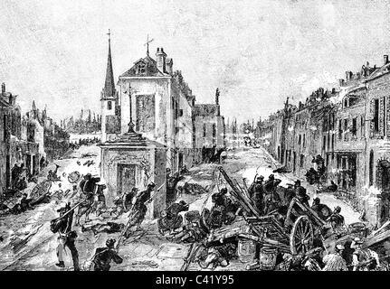 Veranstaltungen, preußisch-französischen Krieg 1870-1871, Schlacht von Chateaudun, 18.10.1870, französische Barrikade - Stockfoto