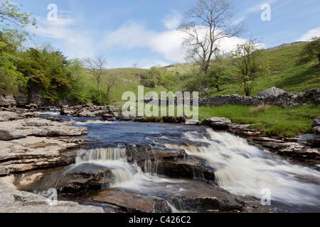 Kingsdale Beck über Thornton Kraft auf dem Ingleton Wasserfälle Walk, North Yorkshire - Stockfoto