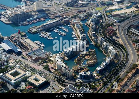 Luftbild von der Waterfront Marina in Cape Town, Südafrika. - Stockfoto
