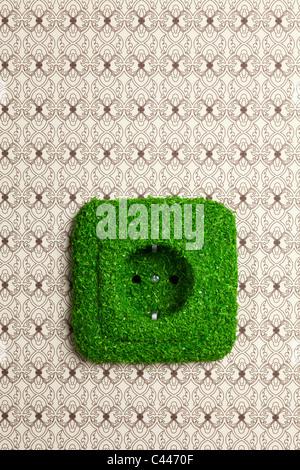 Energiesparende elektrische Steckdose mit Rasen bedeckt - Stockfoto